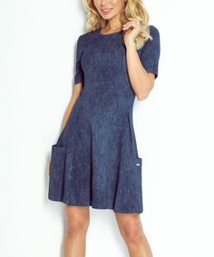 Look what I found on #zulily! Dark Blue Jeans A-Line Dress #zulilyfinds