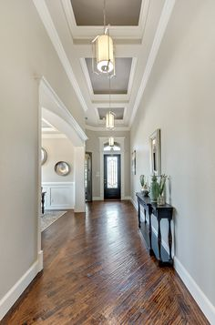 """Progress Lighting 2017 Catalog """"This model home features transitional design styling, combining traditional aspects with updated Hallway Designs, Foyer Design, Ceiling Design, Traditional Interior, Interior Modern, Home Interior Design, Plafond Design, Grades, Ceiling Treatments"""