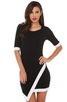 7f45e698b500 Asymmetrical Contrast Dress | Black Dress | Mini Dresses Classy White Dress,  Dress Black,