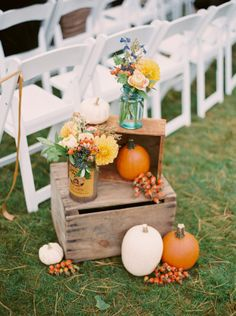 Fall wedding decor with a rustic twist: http://www.stylemepretty.com/massachusetts-weddings/beverly/2014/11/26/fall-wedding-at-the-estate-at-moraine-farm/   Photography: Untamed Heart - http://untamedheartphotography.com/
