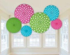 Multicolor Polka Dots Paper Fan Decorations | 6pc for $11.90 in Honeycomb Flowers - Decorations