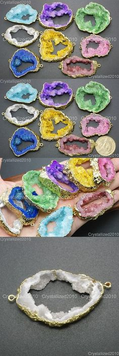 Charms 134299: Natural Druzy Quartz Agate Geode Sliced Bracelet Necklace Connector Charm Beads -> BUY IT NOW ONLY: $38.95 on eBay!