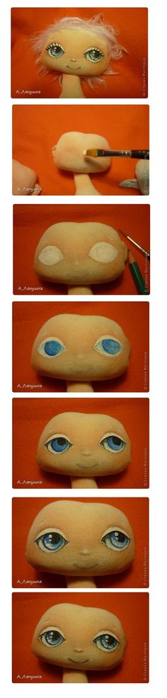 steps painting doll face......(what an inspiring, step by step tutorial! not to mention a CUTE face, too!!):