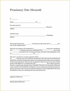 Customized For Free Promissory Promissory Note Free Template Word