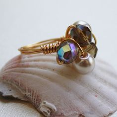 brown cocktail cluster ring gold plated non by collscreations, $18.00