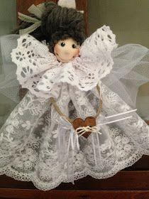 Christmas Ornament Crafts, Angel Ornaments, Christmas Angels, Christmas Crafts, Felt Dolls, Doll Toys, Short Curly Wigs, Handmade Angels, Angel Decor