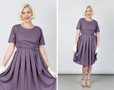 Vintage 1960s Purple Gingham Day Dress with Sash by machinedance, $60.00