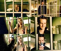 My favorite scene in all of Veronica Mars... and that's a hard one to pick since there are so many. After all the times Logan had been behind bars (a few of them because Veronica put him there), he just can't help taking a snap shot of Veronica on the other side of the bars. :)