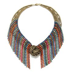 Galapagos necklace with oxidized brass chains and multicolored Swarovski crystal fringe by Dannijo