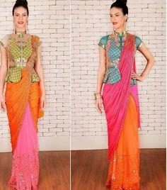 Papa don't preach # saree # peplum blouse # fusion look # Sari Blouse Designs, Designer Blouse Patterns, Design Patterns, Saree Styles, Blouse Styles, Latest Saree Blouse, Long Blouse, Peplum Blouse, Stylish Sarees