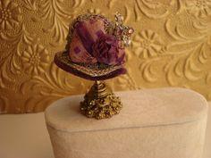 vintage velvet miniature 1:12 scale hat