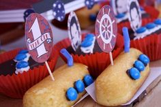 Vintage boys birthday party including submarine treats made using Hostess Twinkies. #KidFriendly #Crafts