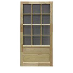 Screen Tight Hampton 12 Lite Wood Natural Wood Screen Door (Common: 36-in x 80-in; Actual: 36-in x 80-in)