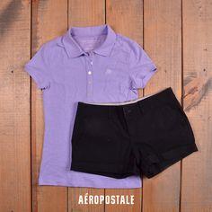 Polo & Short Aéropostale #Morado #polo #playera #a87 #aeropostale #aeropostalemx #short #black #ootd #look #spring #AeroSpringmx