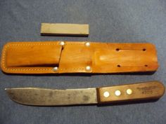 "Vintage Remington ""CARBON STEEL""  Hunting, Skinning Knife 4306 w/ Leather Sheath   eBay"