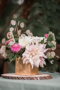 DC Boho Bridal Shower Inspiration - United With Love | Sarandipity Photo | Small Centerpiece with Wood and Gold Touches | Pink and Cream Floral Centerpiece