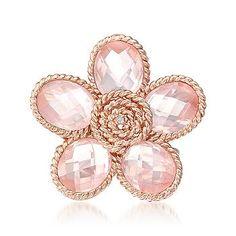 Ross-Simons - Rose Quartz Flower Ring With Diamond In Pink Sterling Silver - #777955