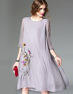 2017 spring and autumn dress women s chinese style vintage embroidery loose  silk dress female o-neck seven sleeve silk dresses 9b4c6797ffb1