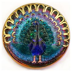 Vintage shimmering peacock, Czech glass button