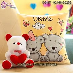 Delivered Valentines Gifts For Him - Send Valentine's Day Gifts Same Day Delivery in India. Express Delivery of Valentine Gifts for Him with Kalpa Florist. Valentines Day Gifts Boyfriends, Boyfriend Gifts, Valentine Day Gifts, White Teddy Bear, Valentine's Day, Printed Cushions, Hug, Red And White, Hello Kitty