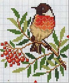 """Ornament """"bullfinch"""" scheme for knitting"""