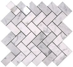 """$10.95 Carrara (Carrera) Herringbone 1x2"""" Marble Mosaic Bianco avilable in Honed and Polished. #Herringbone #Carrara #Marble #Mosaic. Option for backsplash or possibly for the bathroom."""