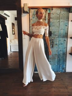 SAINT Silk Pants + EVERYDAY Crop + STELLA Leather Choker | Grace Loves Lace