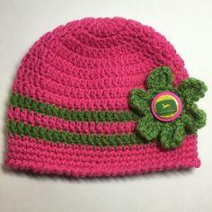 Baby girl hat, pink John Deere hat, girl John Deere hat, baby winter hat, crochet hat by anniescraftcloset on Etsy https://www.etsy.com/listing/271211322/baby-girl-hat-pink-john-deere-hat-girl