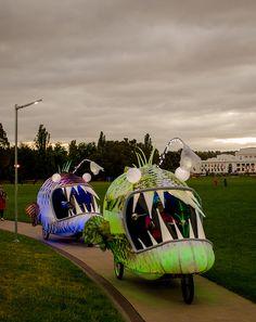 Enlighten Canberra Festival 2013....illuminated sea creatures on bike frames