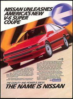 Nissan Red 200 SX 200SX V-6 Car Vintage (1987)