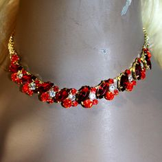 Rhinestone Choker Necklace Earring Set Austrian by BizarreJewels