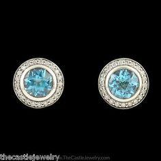 David Yurman Topaz Earrings with Diamond Halo in Sterling Silver - http://designerjewelrygalleria.com/david-yurman/david-yurman-topaz-earrings-with-diamond-halo-in-sterling-silver/