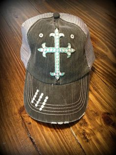 Distressed Blinged Trucker Hat with Turquoise by SouthernRootsTX