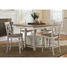 For your own farmhouse chic conversation room, try the Liberty Furniture Canton Counter-Height Gathering Table . This counter height table makes. Cheap Dining Room Table, Furniture, Dinette Tables, Counter Height Dining Room Tables, Dining Room Bar, Counter Height Dining Sets, Dinette, Gathering Table, Liberty Furniture