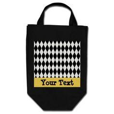 Harlequin Diamond Pattern Customizable Tote Bag for Mardi Gras
