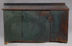 PRIMITIVE CUPBOARD IN OLD BLUE PAINT - Cowan's Auctions