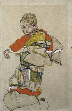 Egon Schiele boy in multi colored coat or robe.