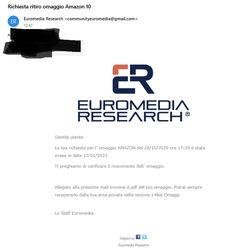Arrivato Buono Amazon da 10 euro dal sito Euromedia Research, sito di questionari remunerati. Cliccate qua sotto e scoprite come fare soldi da casa su Euromedia Research.
