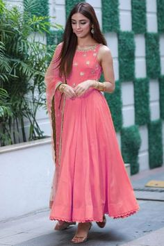 Buy Maya Ali Georgette Anarkali Suit In Rose Pink Color - Salwar Kameez for Women from Andaaz Fashion at Best Prices. Indian Gowns Dresses, Indian Fashion Dresses, Indian Designer Outfits, Pakistani Dresses, Flapper Dresses, Long Dresses, Designer Anarkali Dresses, Designer Party Wear Dresses, Kurti Designs Party Wear