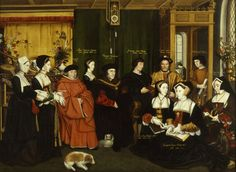 The Family of Sir Thomas More by Hans Holbein. Thomas More commissioned Hans Holbein to paint a family portrait around the result being similar to the above painting. It was a monumental work Tudor History, British History, Tomas Moro, Dinastia Tudor, Elizabethan Clothing, Elizabethan Fashion, Vikings, Elisabeth I, Historical Fiction Authors