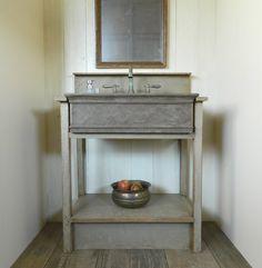 Drop-in Farm Sink Bathroom Vanity by Atmosphyre on Etsy Rustic Bathroom Vanities, Vessel Sink Bathroom, Vanity Sink, Master Bathroom, Bathroom Ideas, Rough Cut Lumber, Antique Brass Faucet, Drop In Sink, Benjamin Moore Colors