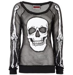 JAWBREAKER-Goth-Top-SKULL-Mesh-Fishnet-Long-Sleeve-All-Sizes