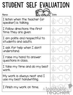 Students' Self Evaluation form for Parent-Teacher Conference Forms - A Teachable Teacher