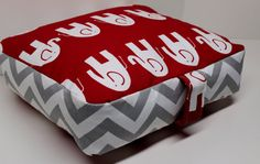 Scarlet Red & Gray Chevron Elephant 30x30x4 Floor Cushion Pillow Pouf in Zigzag and Lipstick Red White Ele on Etsy, $65.00