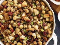 A delicious sausage stuffing with dried cranberries. Perfect for holiday dinners or a casserole by itself.