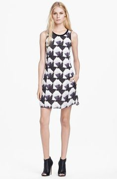 Theyskens' Theory 'Dlily Irock' Sleeveless Print Silk Dress available at #Nordstrom