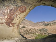 Chumash Pictographs Above a Cave Entrance