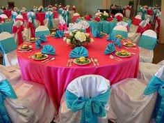 table decor-pink and blue