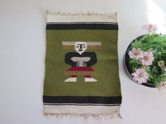 Vintage Woven Decorative Small Rug Rag, Tribal Art, Folk Art, Woven Wool Decor, Green Black Red # 2-04