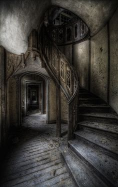hauntingly beautiful stairway in shades of grey